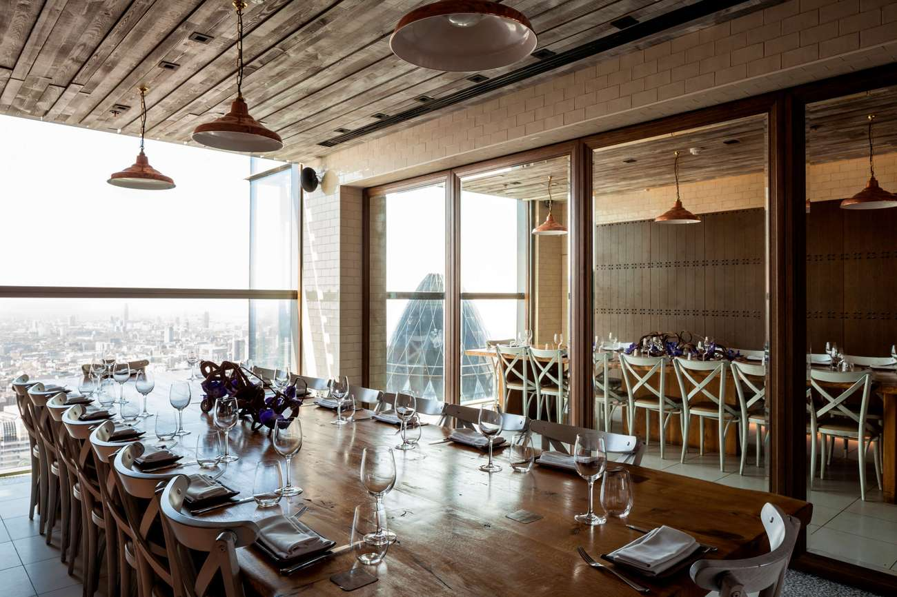 Duck and Waffle's private dining room boasts breath-taking views of London's skyline.